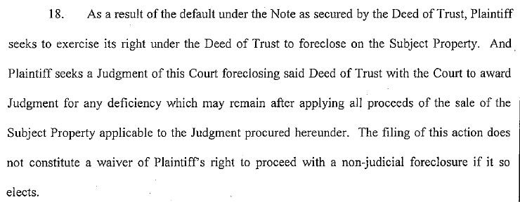 Nevada Judicial Foreclosure where the Lender is seeking the Deficiency Amount rewarded to them